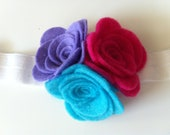 Fushia, blue and purple felt flowers headband - baby headband, flower headband, felt headband