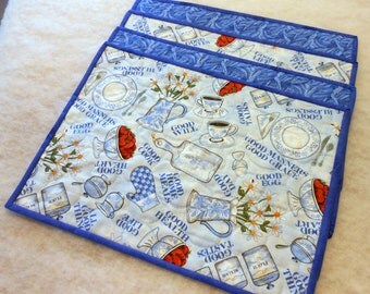 Reversible Place Mats All Good Things Motif Blue and Royal