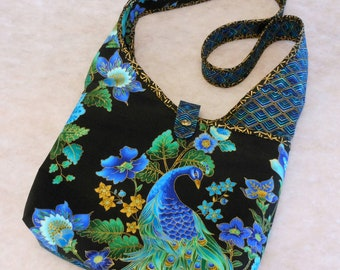 Hobo Sling Purse Peacock Elegant Blue and Black Your Choice Handle Length