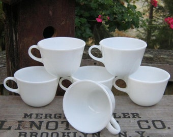 Set of Six White Milk Glass Pyrex Cups Tea Coffee - Oak Hill Vintage
