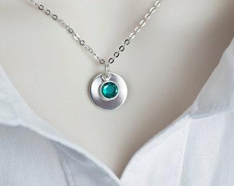 Birthstone Necklace, Sterling Silver Swarovski Birthstone Necklace