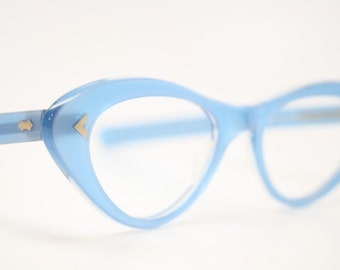 Vintage cat eye glasses Blue cateye eyeglasses NOS