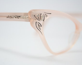 cat eye glasses Pink rhinestone vintage 1950s eyewear cateye frames