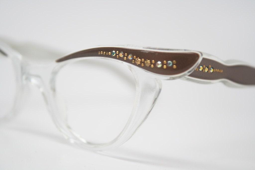 Cat Eye Rhinestone Eyeglass Frames : Cat Eye Glasses Rhinestone Cateye Eyeglasses NOS Vintage