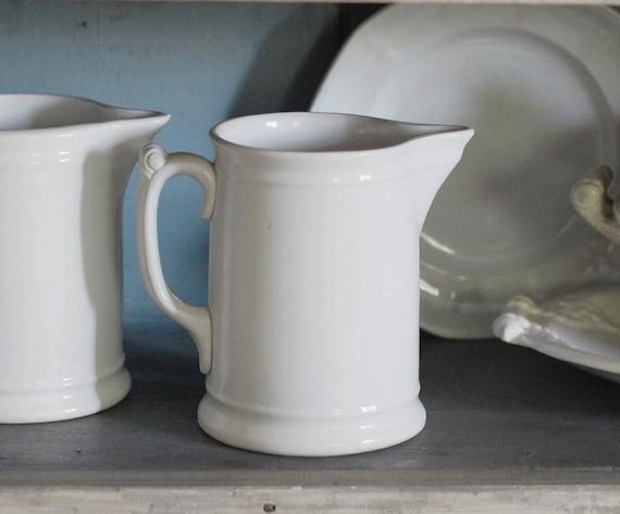 Vintage White Ironstone Milk Pitcher - K.T.&K. China