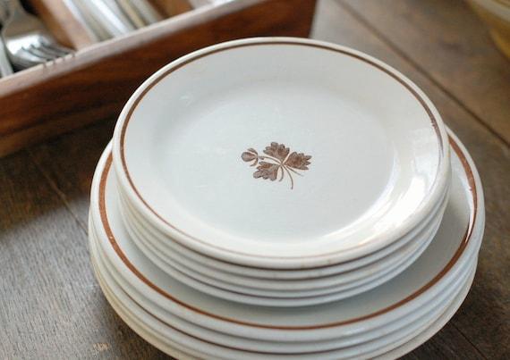 Set of 10 Antique Tea Leaf Ironstone Plates - 5 Medium, 5 Small - England