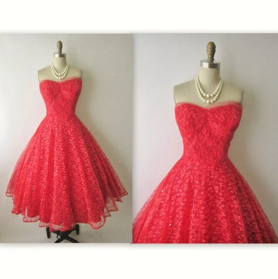 50's Prom Dress //  Vintage 1950's Strapless Red Tulle Wedding Party Prom Dress S M
