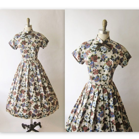 50's Floral Dress // Vintage 1950's Floral Print Cocktail Party Full Mad Men Dress