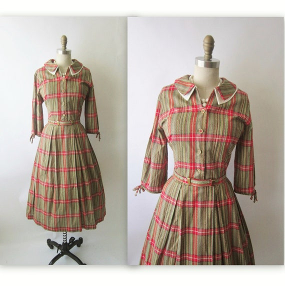 50's Plaid Dress // Vintage 1960's Plaid Cotton Shirtwaist Casual Mad Men Dress L XL