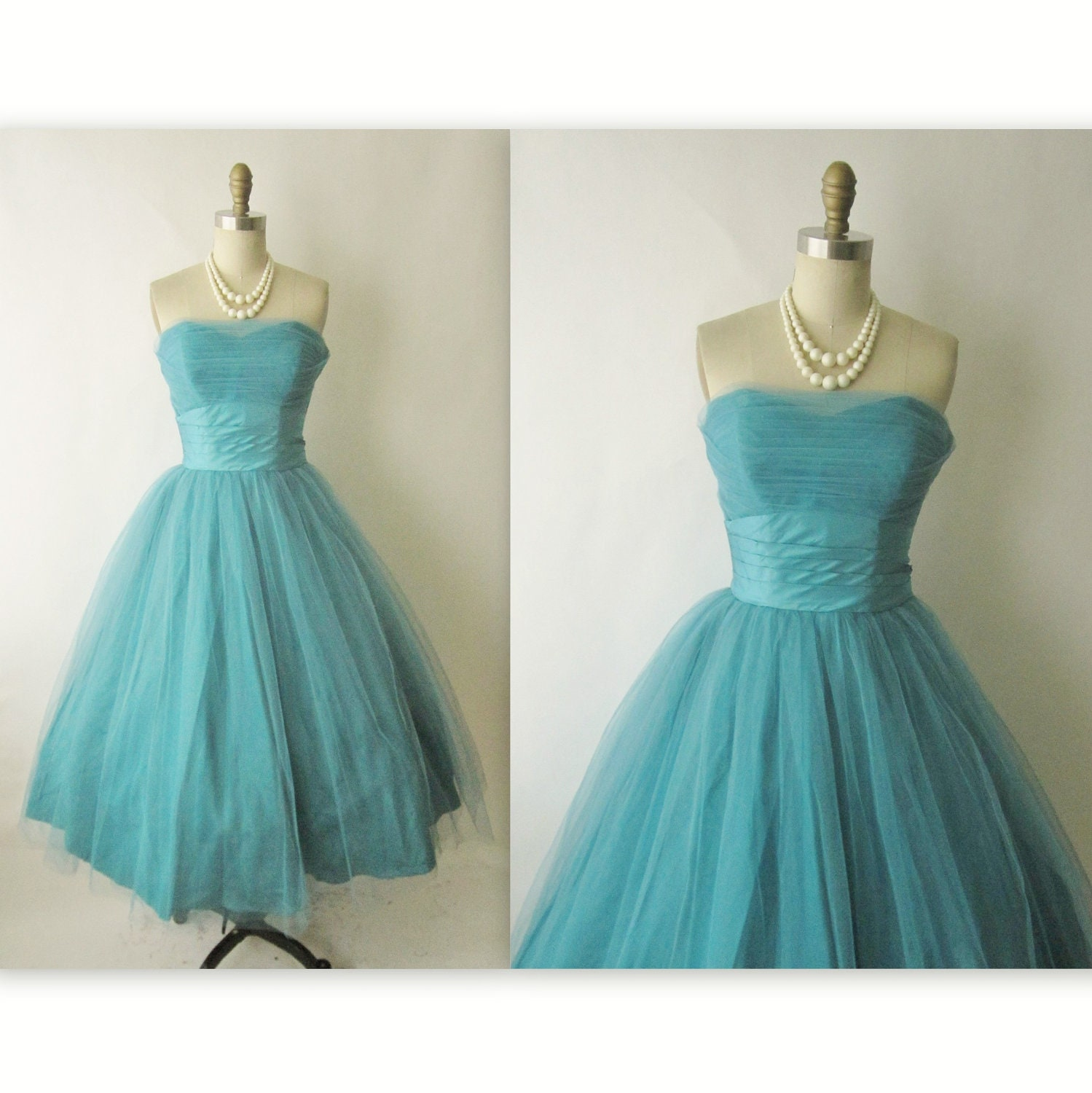 50's Prom Dress // Vintage 1950's Teal Strapless