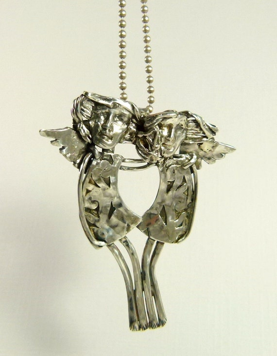 Angels Avah And Audrey  Embrace To Fly - Re-purposed Sterling Silver And PMC - Art Jewelry Pendant - 848