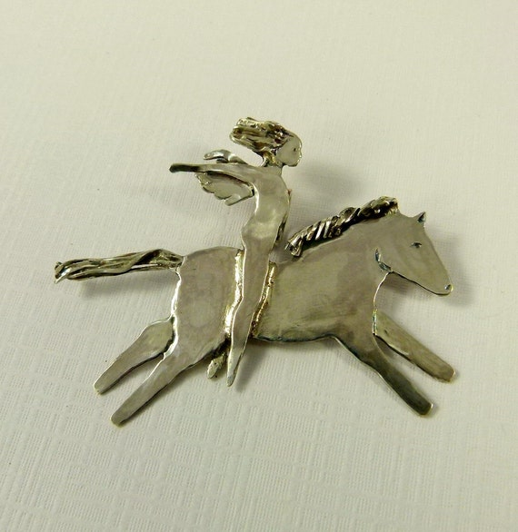 Angel Thea Is Loving The Ride - Up Cycled Sterling Silver - Art Jewelry Pendant - 902
