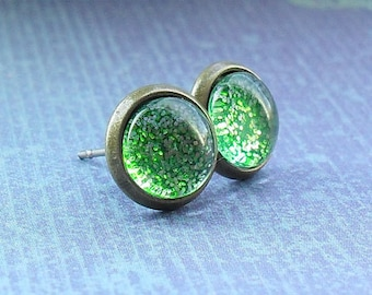 Little Kiwi Green Glitter Earrings