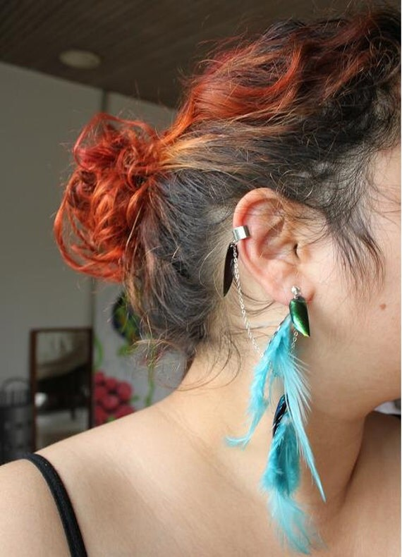 Lord of The Rings - Elven Feather & Beetle Wing Ear Cuff