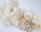 the ELOISE - beaded rhinestone and pearl ivory satin and lace sash