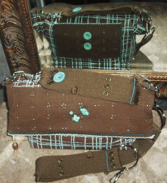 REDUCED-Josie's- Brown /Turquiose-Quilted-Shoulder/Wristlet/Fold Over Clutch Zipper Bag/Purse-3- in One,w/ Detachable Accessories