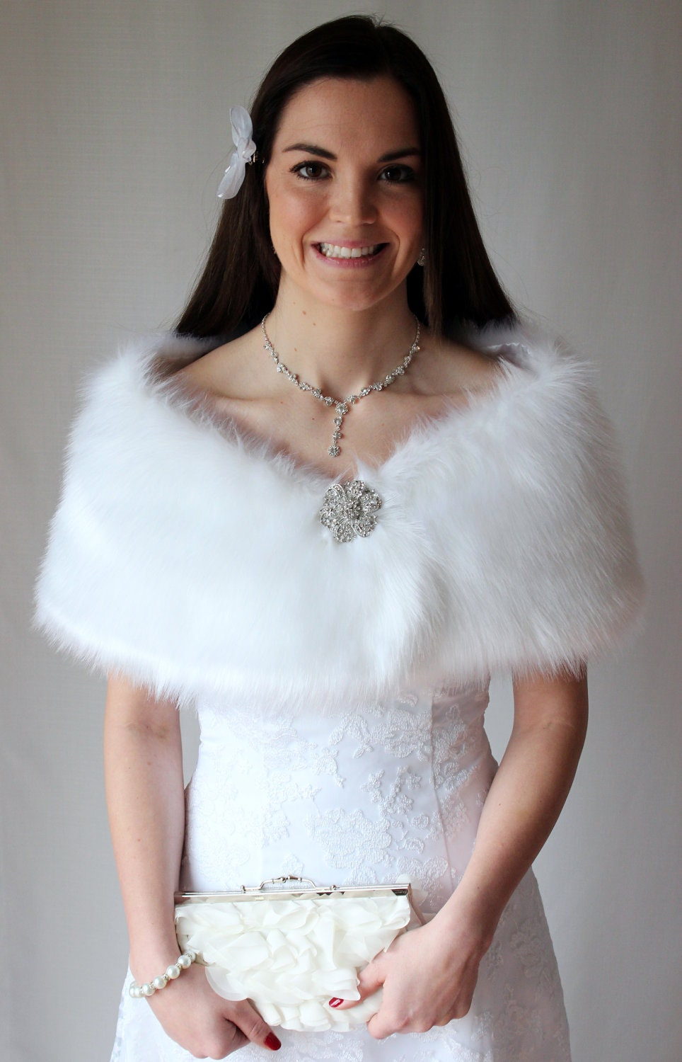white faux fur wrap bridal wrap bridal shrug fur by tiondesign