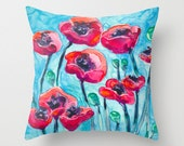 Decorative Pillow Cover - Floral Poppy Sky - Floral Throw Pillow Cushion - Fine Art Home Decor