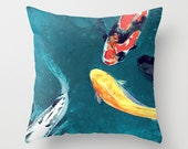 Decorative Pillow Cover - Koi Fish - Throw Pillow Cushion - Fine Art Home Decor