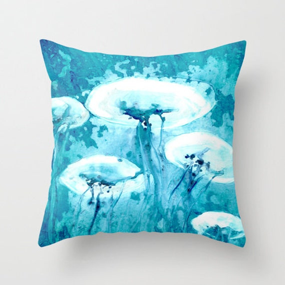 Decorative Pillow Cover - Jellyfish Painting - Throw Pillow Cushion - Fine Art Home Decor