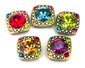 5 multicolor 2 hole slider beads, cubic zirconia, antiqued gold setting