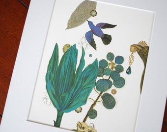 Blues  /  Giclee Art Print  /  Blue bird with turquoise jungle leaves & surreal jewels