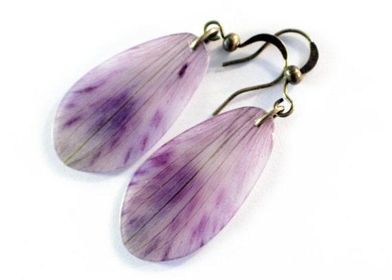 Purple Tiger Lily Earrings  antiqued brass  real flower petals preserved flower earrings purple speckles