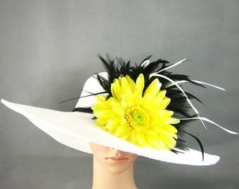 Derby Hat Dress Hat Wedding Hat Tea Party Hat WHITE Hat Fascinator Wide Brim Womens Dress Hat Ascot Church Kentucky Derby