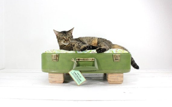 Large Upcycled Green Suitcase Pet Bed - Handmade Wood Legs