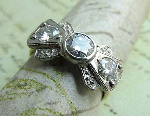 items similar to bowtie ring 18k gold wedding