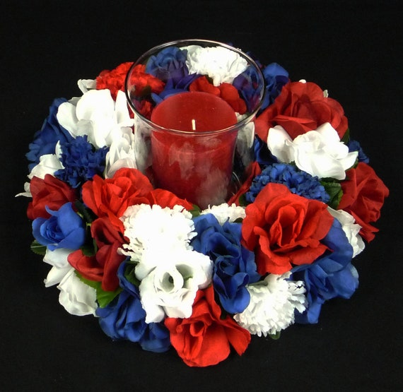 Patriotic rwb centerpiece silk flower table