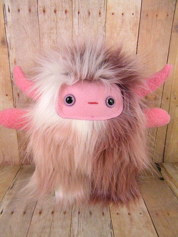 INVENTORY SALE Kira the horned plush monster white pink purple stuffed animal