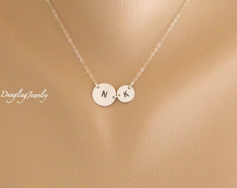 Mothers Day from Daughter, Two Circle Initial Necklace, Mother Daughter Necklace, Personalized Jewelry, Sister Necklace, Initial Jewelry