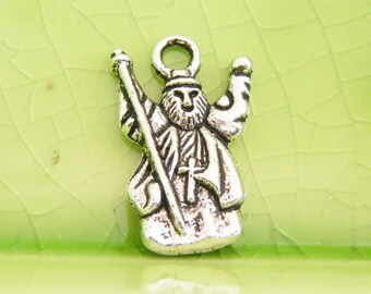 10 silver wizard vampire charms pendants fantasy Merlin Once Upon a Time fairytale cross priest religious 18mm x 12mm - C0745-10
