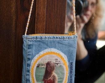 Shoulder bag, with applique of Brigitte Bardot photo. A fabulous one of a kind accessory.
