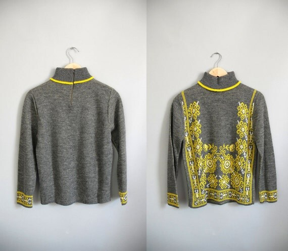 70s Sweater / 1970s Winter Sunshine / Turtle Neck
