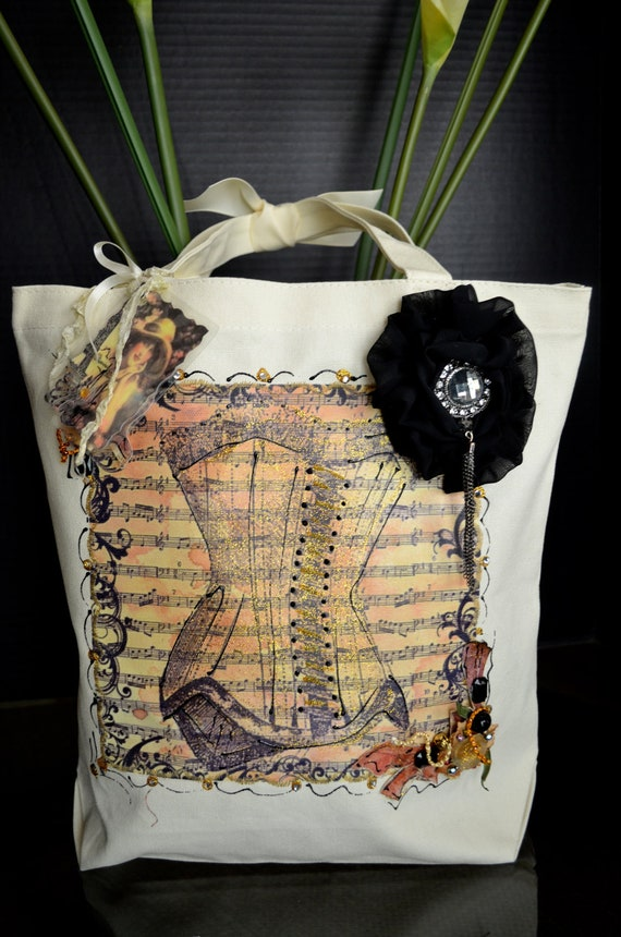 Corset Tote Bag With Chiffon Rose