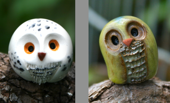 RESERVED for KRUM: Comet & Hedwig the Clay Owl, Harry Potter Inspired Owlery Miniature