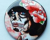 2.25 inch Pocket Mirror - Day of the Dead Sugar Skull Girl - Alive