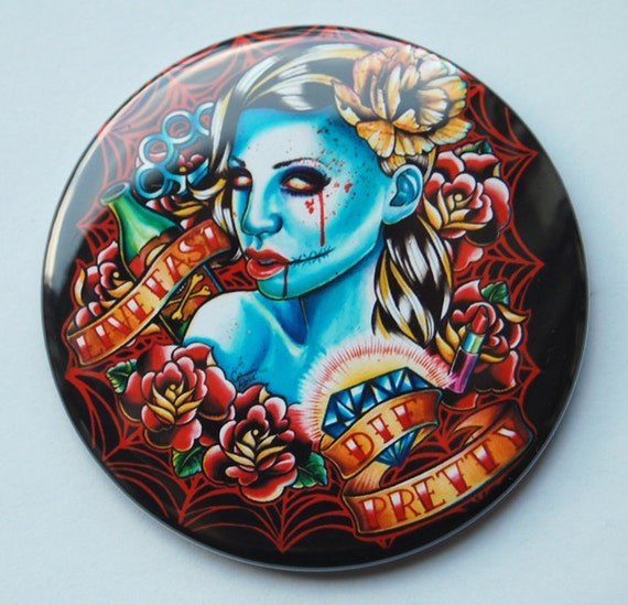 Inch pocket mirror undead zombie girl tattoo flash for Mirror zombie girl