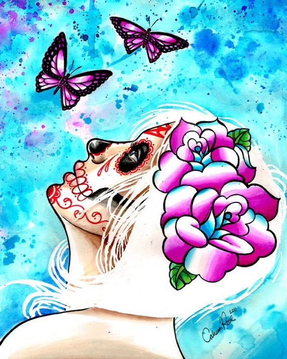 5x7, 8x10, or apprx. 11x14 in Hand Signed Art Print - The Calm - White Haired Sugar Skull Girl With Butterflies