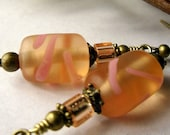 Peach and Pink Glass Earrings, Czech Glass Earrings, Vintage Inspired, Peach, Pink, Antiqued Bronze