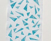 Geometric Turquoise - 100% Cotton Hand Stamped Tea Towel