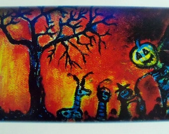 """Halloween Art print,  meet pumpkin head - Trick or treat  8.5"""" x 11"""" linen paper stock-Free shipping!"""