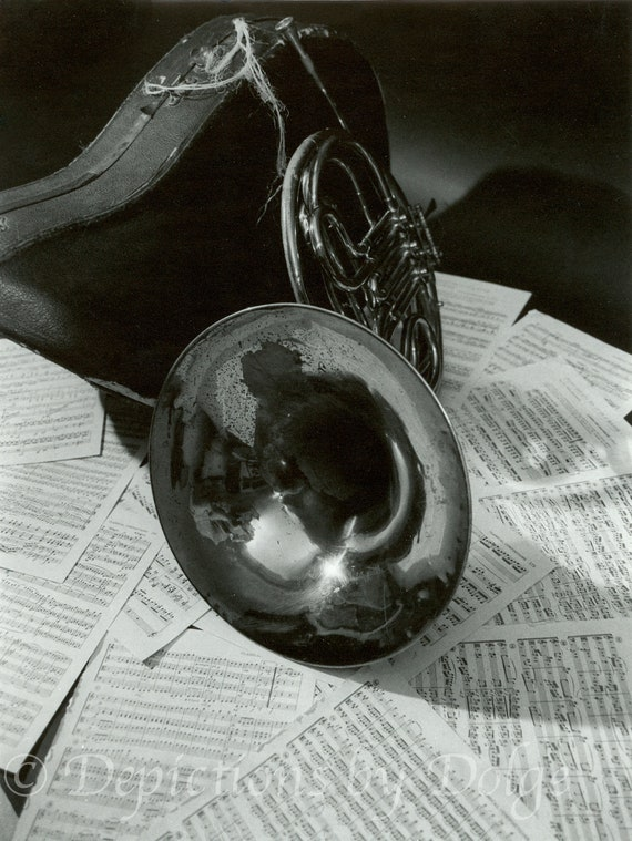 French Horn on Sheet Music 8X10 Fine Art Photography Print