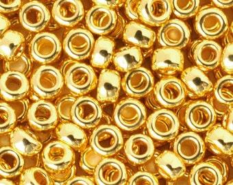 Seed Beads-11/0 Round-191 24KT Gold Plated-Miyuki-7 Grams