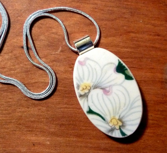 RECYCLED BROKEN CHINA Necklace - Dogwood Blossoms