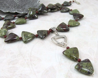Dragon Blood Jasper Bordeaux Swarovski Pearl Silver Necklace
