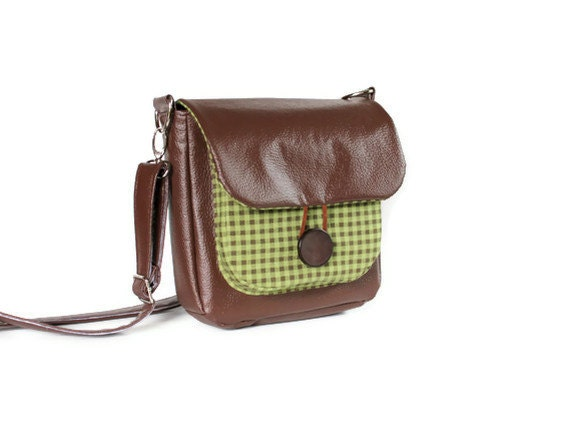 RESERVED FOR ARWEN - Crossbody Bag, Eco Leather Brown & Green