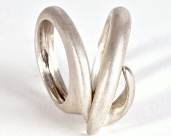 Combined Sterling Silver Ring, Designer Ring, Unique Ring, Statement Ring For Women, Combination Silver Rings Three Rings in One